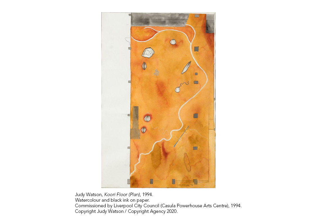 Judy Watson watercolour artwork entitled 'Koori Floor'
